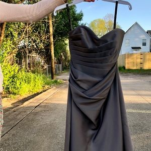 Gray knee length formal Alfred Angelo dress